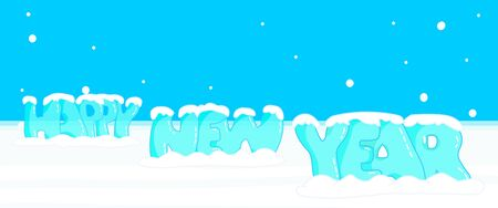 Transparent happy new year drawing bright ice font. Celebration for New Year. Holiday card. cartoon editable 2d draw vector. on white blue blank background