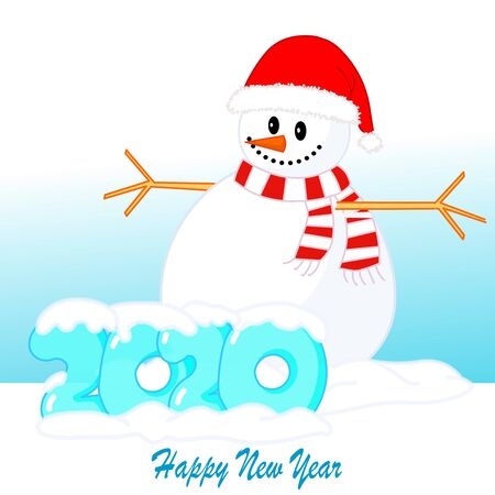 Hello 2020. Snowman with open arms to embrace. Red santa hat and scarf.  Transparent ice 2020 drawing cartoon font. Snow capped. Happy new year. Noel illustration.  Square Drawing Vector Vectores