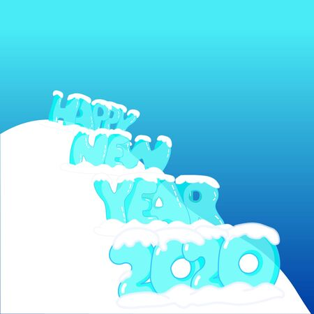 Happy new year 2020 . Transparency ice Happy new year drawing cartoon font on hill, mountain . Icy bubble 2020. Lettering text under snow caps . Vertical blue background. Winter , xmas Vector Vectores