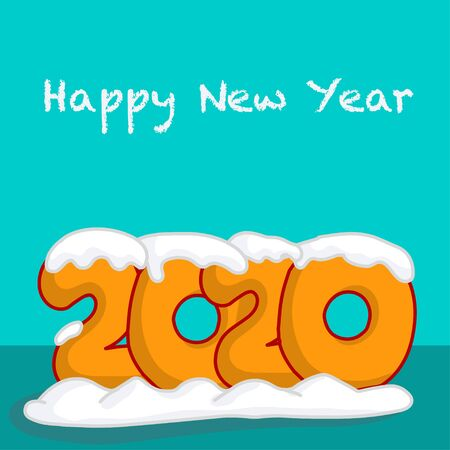 2020 lettering in cute, fat toon orange font under the snow caps. Happy new year, handwriting.  turquoise background. Drawing cartoon vector illustration. Illustration