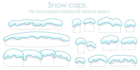 Snow caps on white background. 2020. Set isolated. Snow icicles. For text, font, home, oval, square, convex. Outline, smooth. Shadowy cartoon editable snowy elements winter. Silhouette back. Vector
