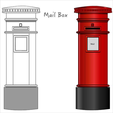 Mail box. London postbox, red mailbox. Black white, technic draw sketch and red colored cylindrical mailbox. England, London classic culture objects. Outline draw Vector Vectores