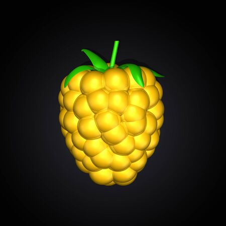 Gold yellow berry, blackberry, raspberry ,dewberry on dark black background. One berry. Top view. Lighting. 3d illustration.  High resolution. Banque d'images