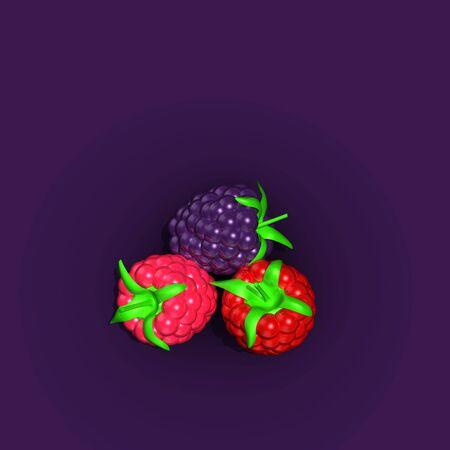 Berries collection. Raspberry, blackberry Red, pink purple berry on dark purple background. Organic foods fruit. Top view. Realistic design. contrast purple background. 3d illustration Foto de archivo