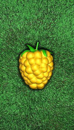 Yellow golden raspberry, blackberry, dewberry. Berry on grass. on the grass,  Top view, Lighting. For sport transfer. soccer, football , golf. 3d illustration. High resolution