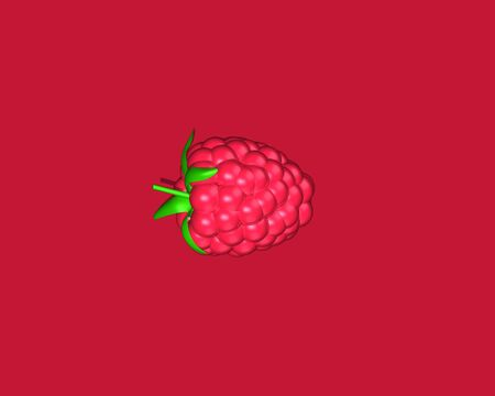 Pink bright fruit. Fresh organic food. Single Pink raspberry, black berry on pink background. blackberry with leafs. Overhead. Top view. Lighting. 3d illustration.
