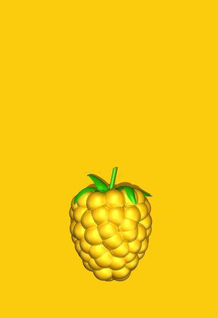 One yellow gold  berry, Golden raspberry, blackberry, dewberry on yellow background. Gemstone design. Top view. Lighting. 3d illustration. Foto de archivo