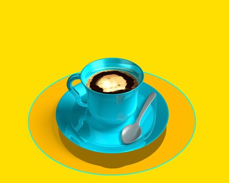 Blue neon coffee cup on light yellow background. Digital , mobil , smart table. With silver spoon and yellow fluorescent brilliant plate. Order food, smart table concept. Overhead view. Technology,  3d illustration