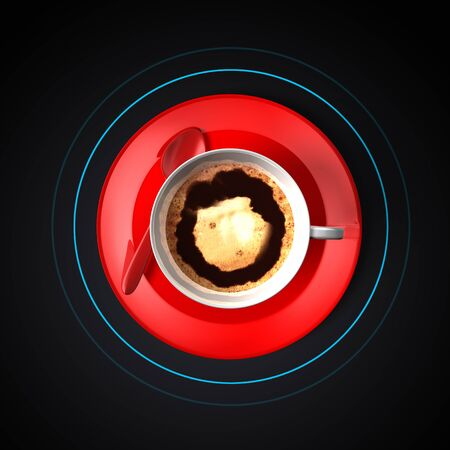 White cup coffee, silver red spoon and brilliant shiny red plate. Top down view. Frothy foam  on dark black background. Light blue circle cursor. Order food, smart table concept.  6K .3d illustration Foto de archivo