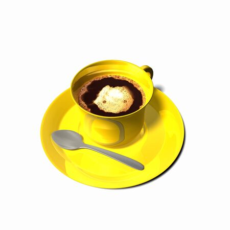 Frothy coffee yellow bright cup on white background. With silver gray spoon and yellow plate. Overhead view. 3d realistic illustration rendering