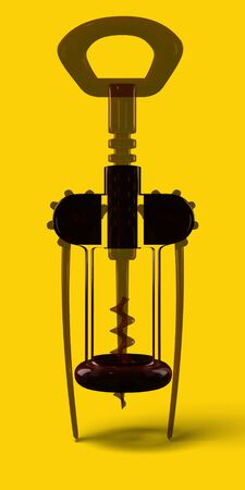 Corkscrew on a light yellow background. Transparent, bright, reflective, wheel, leverage. High resolution, glass cork screw. Realistic, 3d illustration