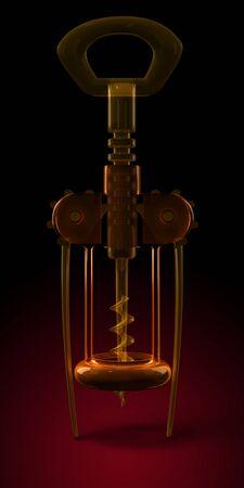 Silhouette human glass cork screw.  Corkscrew dark red. Transparent, orange, wheel, leverage, darkness. On black background. Technology, Enigma, Realistic, Vertical Horror 3d illustration