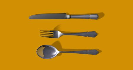 Gray metal fork, bright knife and spoon. Pastel yellow background. shiny object. Modern contrast kitchen utensil. Grey bright silver cutlery set.  3D rendering