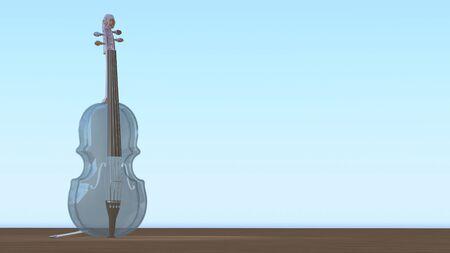 Transparent glass viola. Romantic music instrument crystal viola on wood ground. Light blue sky and wooden background. 3d rendering Foto de archivo