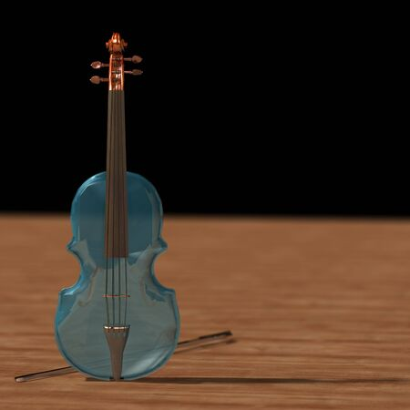 Transparent glass viola on wood   dark background. Transparency crystal romantic music instrument, depth violin. 3d rendering. illustration