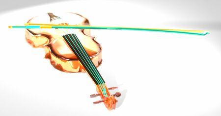 Viola green wires. Brilliant colorful music instrument. Shiny, glow, yellow, green violin. White background. 3D rendering