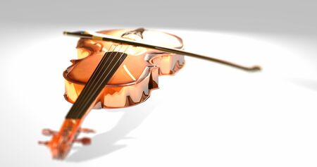 Bright Violin. Focused springs shiny wooden violin on white background. Brilliant music  instrument. Depth field wood Viola. 3D render Foto de archivo