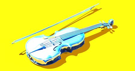Shiny blue glass viola, cello over light yellow background. with bow. Brilliant music instrument mirror blue violin.  3D rendering