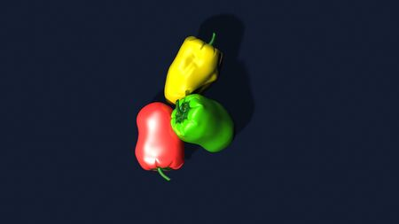 Different peppers yellow red green on dark blue background. top view. 3d rendering.
