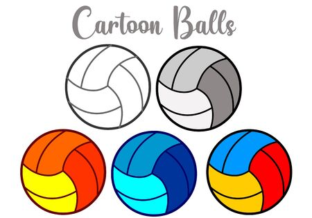 Colorful cartoon beach balls. Valley ball. Volleyball ball outline, line, black and white, yellow, red, blue, green, mixed color. Holiday and sport object. Illustration Vector Vectores