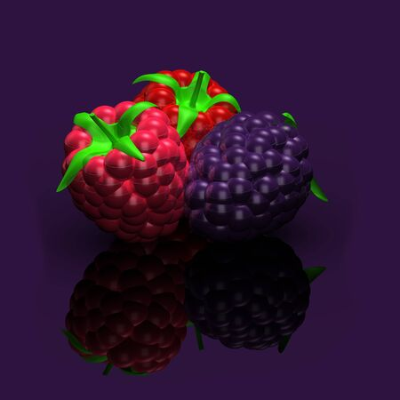 Purple, red, pink berries set, designed in front of purple background, Reflection ground shiny blackberry, dewberry, raspberry reflections, vertical. Overhead view. 3D illustration