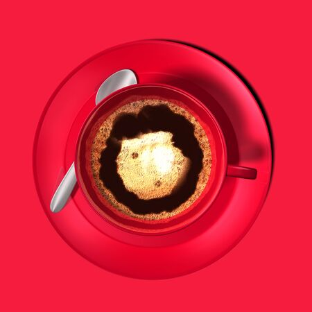Red coffee cup on red background. Frothy coffee. Top down drink food. With silver spoon and maroon plate. Top view. isolated. 3d rendering Foto de archivo