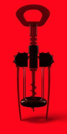 Transparency dark red corkscrew. Glass cork screw. Transparent, silhouette wheel, leverage, kitchen staff, kitchenware, cutlery. Red background. Technology, Retro, Realistic, Vertical 3d rendering