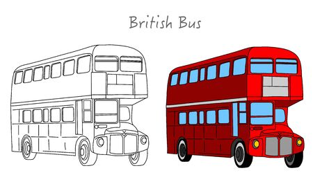 Red British bus. England, London double decker bus. Black white, technic draw sketch and red colored call box. Britain two floor old Autobus. UK classic culture retro objects.