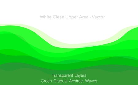 Green underside, free under space. Clean white background upper area. Green abstract transparent layers. Gradual transition, light dark. Blank below bottom side. Medical, tea Illustration Vector