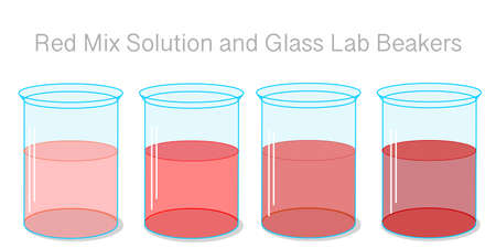 Red solution Stages. liquid in the glass lab beaker, container. Light pink to dark burgundy color fluid  gradient transition in flask. Transparent shiny lab glassware. Chemistry illustration 2d Vector