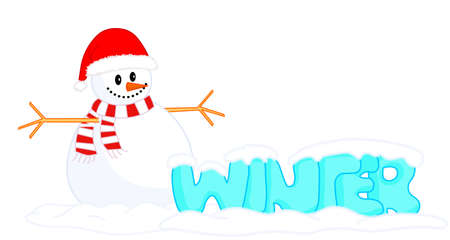 Winter, snowman. Chubby ice-blue winter lettering and snowman in red hat and scarf. Transparent ice drawing cartoon font. Text, snow man under snow caps. White blank sky background. Frozen cold Vector