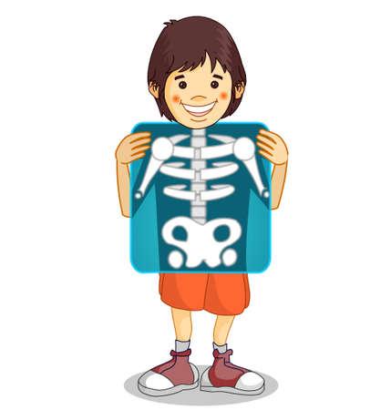 X-ray, Roentgen. Röntgen film. Xray shows the breast, ribs, spine, and pelvis bones. Cartoon body x ray of child boy character. Medical educational drawing. Biology, radiology illustration Vector