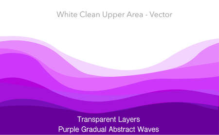 Purple abstract, wavy transition. Light to dark gradual blue violet smooth waves. Dune, sleep, luxury, tulle, mountains. Radish vegetables. Gradual change. White background. Illustration Vector