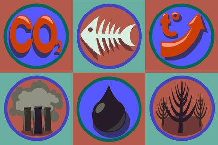 oil spill: Ecological problems icon set. World pollution, global warming, species extinction, oil spill, deforestation, carbon dioxide temperature