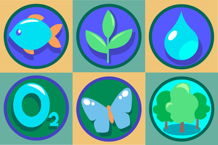 butterfly fish: Ecology Icon Set. Vector Eco illustrations. Pure drop of water, oxygen, green forest, growing plant, butterfly, fish