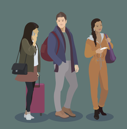 travel phone: Traveler icon set. Man and women with luggage, smart phone, tickets. People in airport, train, bus, ship journey. Couple in love travel. Illustration