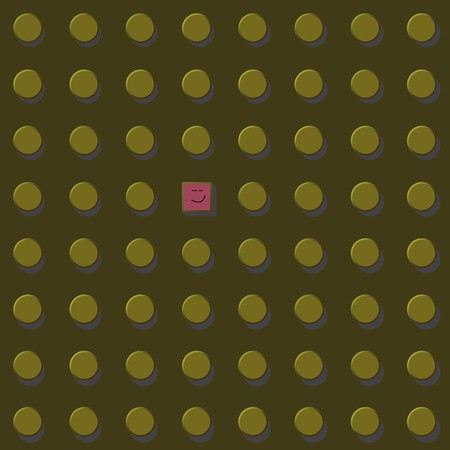 risky innovation: Think different illustration graphic. yellow circle and square shapes.