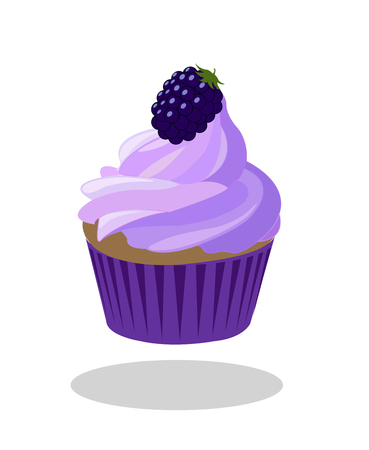 paper case: Blueberry cupcake with berry with purple violet paper case. Illustration