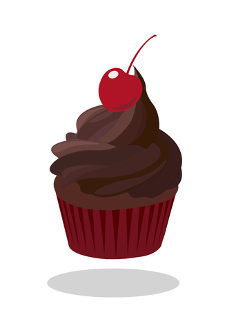 paper case: Cupcake with dark chocolate icing decorated with cherry in red paper case.