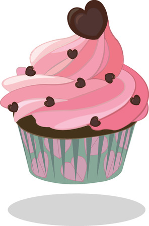paper case: Cupcake with pink icing decorated with chocolate heart in turquoise paper case. Illustration