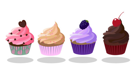 Cupcakes icon set. Strawberry, Creme Brulee, Blueberry, Dark Chocolate taste. Decorated with heart-shaped chocolate, blueberry, cherry. Pink brown purple color Illustration
