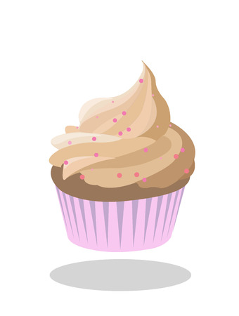 Cupcake beige icing decorated with pink sprinkles in pink paper case. Illustration