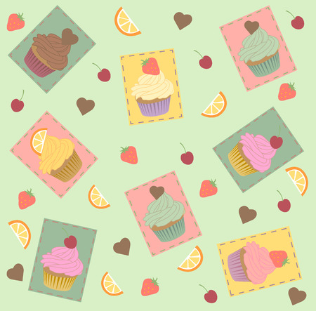 cupcake illustration: Cupcake seamless pattern. Strawberry, chocolate lemon mint taste. Yellow turquoise pink brown color.