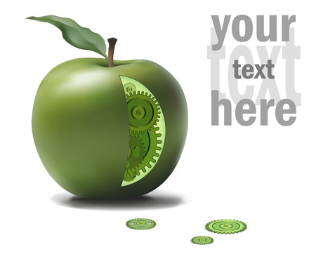 consept: Business Eco Gear Idea Mechanism in Green Apple. Natural Solution Consept Illustration