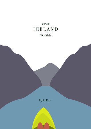 Iceland invating postcard, On kayak in the fjord , simple flat design