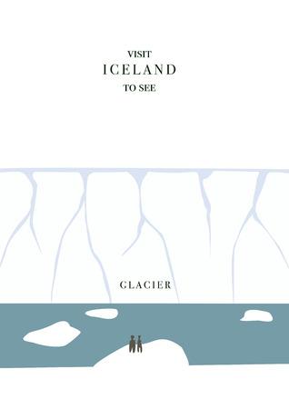 postcard design: Iceland invating postcard. Glacier and icebergs , simple flat design