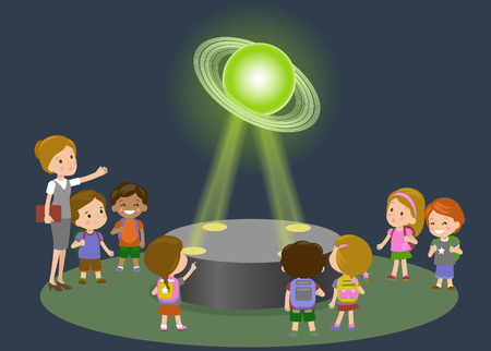 Innovation education elementary school museum astronomy center. Technology and people concept - group of kids looking to Saturn hologram on physics lesson future. Illustration