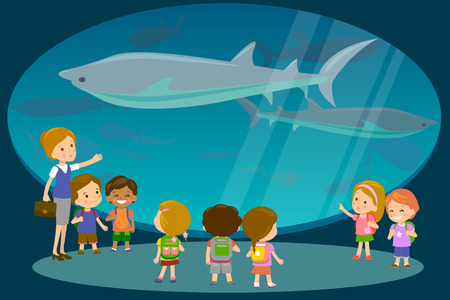 oceanarium: Group of kids watching sharks at oceanaruim aquarium excursion with a teacher. School or kindergarten students on filed trip. Modern flat style illustration Illustration