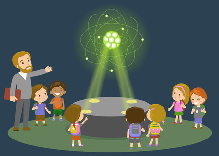 Education, elementary school, learning, technology and people concept - group of school kids looking to carbon atom hologram on physics lesson of future.