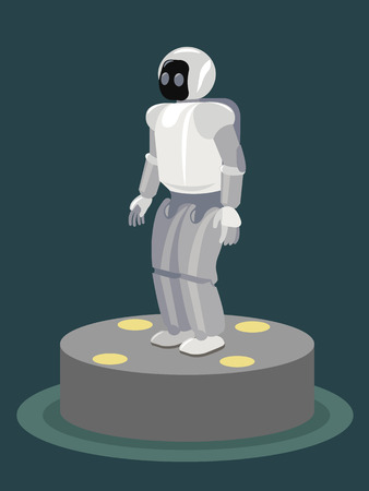 virtual world: Futuristic design concept of a robot. Cybernetic organism with Artificial Intelligence working with virtual world. Isolated illustration on illuminated pedestal. Illustration